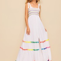 Colorful Tassel Hem Tied Strap Maxi Dress