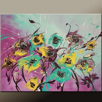 Abstract Art Canvas Painting 18x24 Contemporary Flower Garden Art Paintings by Destiny Womack - dWo - In Bloom
