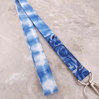 Teacher Lanyard Nurse Lanyard Floral Lanyard Fabric Lanyard Blue Rose Lanyard Tie Dye Lanyard Unique Lanyard Key Holder Key Ring
