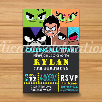 Teen Titans GO Design Invitation - Digital File