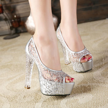 Peep Toe Waterproof Rhinestone Crystal Water Proof High Heel Sandals = 4814725252