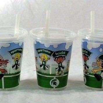 Michigan State Spartans NCAA 10 oz Sip n Go Plastic Cups (Set of 3) BPA Free