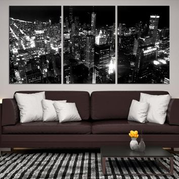 42883 - Chicago Wall Art Canvas Print - Extra Large Chicago City Night Canvas Print