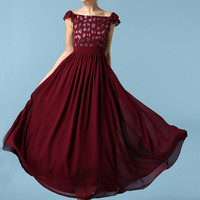 Burgundy Lattice Cap Sleeve Ruched Waist Maxi Dress