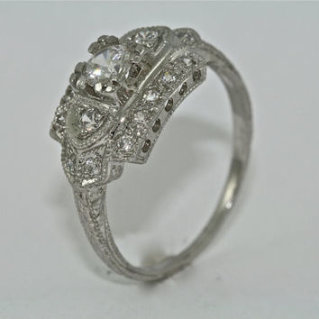 14kt White Gold and Diamond Art Deco Design Hand Engraved Engagement Ring with .30ct White Sapphire Center