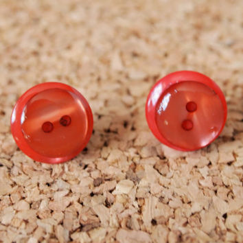 Girly  Button Studs - pink brown resin upcycled earrings repurposed stacked button posts reuse FREE Shipping to United States