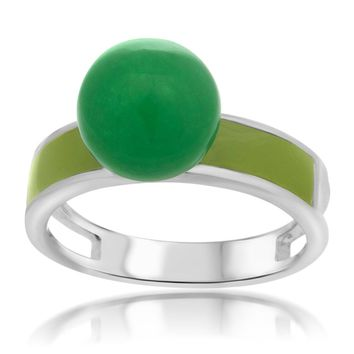 925 Silver Ring with Green Agate, Green Enamel