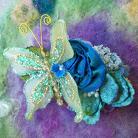 Hair Clip Sparkle Butterfly Rose