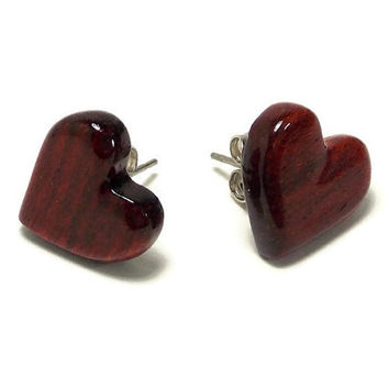 Handmade Heart Earrings - Carved Wooden Earrings - Bloodwood Earrings - Heart Stud Earrings - Post Earrings - Wooden Hearts