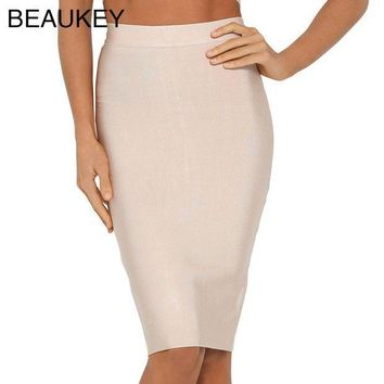 ESBONHS Nude Simple Solid 2016 New Rayon Knitted  Bandage High Waist Sexy Women's Knee Length Pencil Skirt