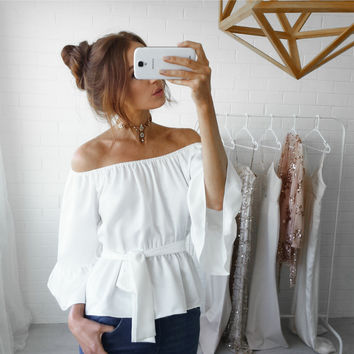 Solid Color A Word Shoulder Chiffon Shirt