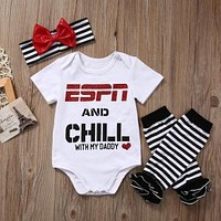 """ESPN And Chill With Daddy"" Girl's Letter Print Bodysuit Set"