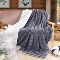 DaDa Bedding Solid Castle Royalty Grey Soft Faux Fur w/ Sherpa Backside Throw Blanket (BL-171755)