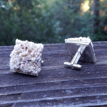 Silver-plated carpet cuff links
