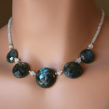 Round Flash Labradorite and Moonstone Bib Necklace, 925 Sterling Silver, Multi Stone Necklace, Statement Necklace, OOAK