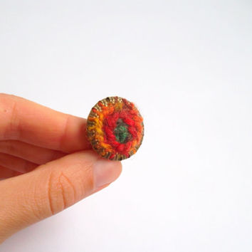 Crochet Ring in Red Orange Green, Fiber Art Ring, Bohemian Finger Ring, Colorful Hippie Ring, Adjustable Ring, Boho Chic Textile Jewelry