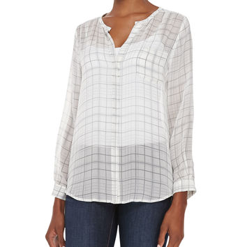 Women's Nyree Button-Down Plaid-Print Silk Blouse - Joie - Porcelain