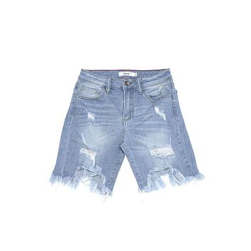 June Light Wash Uneven Hem Bermuda Shorts