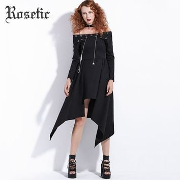 Punk Rock Autumn Black Asymmetrical Steampunk Streetwear Fashion Sexy Club Casual  Goth Dress