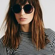 Free People Womens Twiggy Round Sunglass