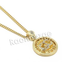 LMFONRC Mens Iced Out Brass Gold Yachty QC Charm Pendant w/ 5mm 24' 30' Cuban Chain A06G