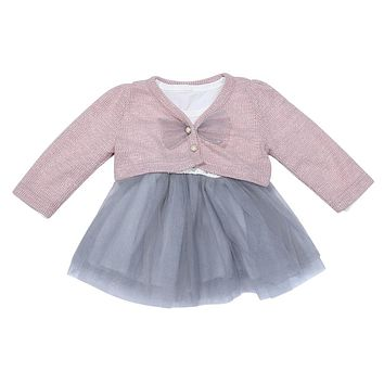Baby Girl Dresses Long Sleeve Cotton Children's Costume Kids Princess Dress with Pink Knit Coat Newborn Baby Girls Clothes