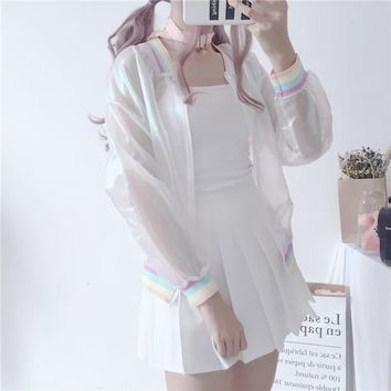 Summer Tops jacket oversize rainbow stripes loose casual sun protection clothing ultra-thin breathable short Outerwear Womens