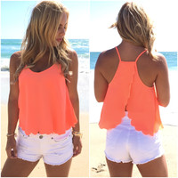 Summer Scallop Tank Blouse In Neon Coral