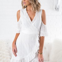 Kianna Eyelet Lace Dress (Off-White)