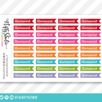 Homework College Planner Stickers | The Nifty Studio | Planner Stickers Erin Condren compatible, Planner Stickers School
