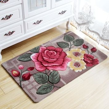 Big 3D Flower Carpet Kids Room Kitchen Rugs Bathroom Carpet Doormat Tapete Para Quarto Entrance Door Mats Outdoor Cheap Bath Mat