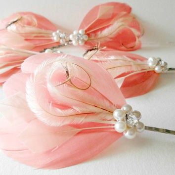 Bridesmaid Set Feather Hair Pins - 5 Wedding Hair Pieces - Feather Fascinator Light Coral, Ivory, 1920s, Gatsby