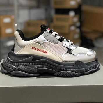 Balenciaga Triple S Clear Sole Trainers Grey/Silver/Black Sneakers - Best Online Sale