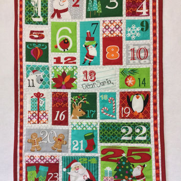 Christmas Advent Calendar, Christmas Countdown Calendar, Quilted Advent Calendar, Pocket Advent Calendar