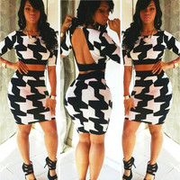 Women Fashion Sexy Two Pieces Backless Cropped Tops And High Waist Plaid Pencil Skirt Set