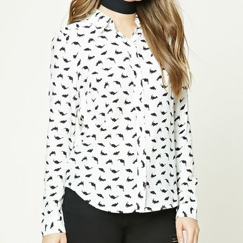 Dinosaur Print Collared Shirt
