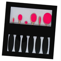 New 6 Pcs Oval Toothbrush Makeup Brush Set Facial Contour Blusher Eyeshadow