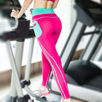 Push Up Spandex Yoga Pants With Side Pocket Patchwork High Waist Elastic Leggings Gym Workout Clothes Women Running Pants