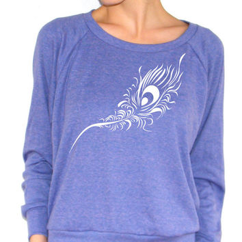 Peacock Feather - American Apparel  Raglan Pullover - Small, Medium, Large