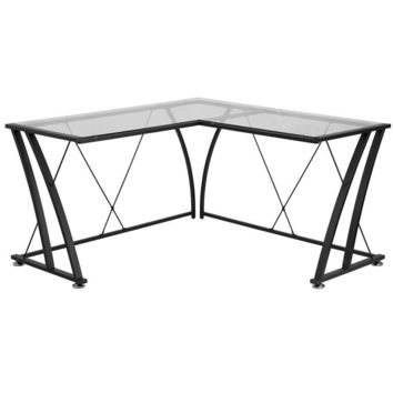 Glass L-Shape Computer Desk with Black Frame Finish