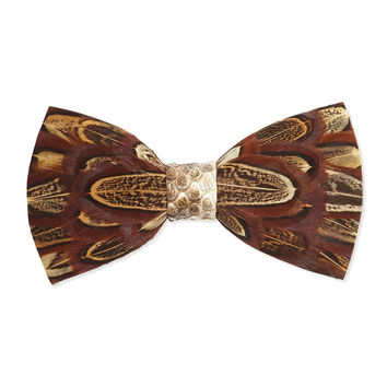 Pheasant-Feather Bow Tie, Brown, BROWN - Brackish Bowties