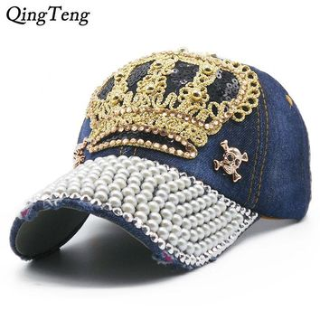 Trendy Winter Jacket Luxury Women Baseball Cap Brand Bling Crown Pearl Sequins Hip Hop Cap Vintage Denim Snap Back Design Cap Casual Snapback Hat New AT_92_12