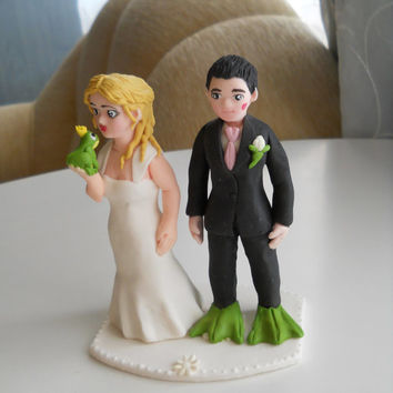 Wedding couple and a frog fondant cake topper