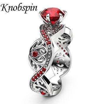 New Fashion European Ladies Red/Black Zircon Ring Plated Rose Gold Color Elegant Charm Engagement Wedding Women Rings Jewelry