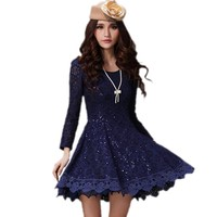 Aileen88 Women's Sexy Lace Round Neck Long Sleeve Slim Fit Short Mini Dress
