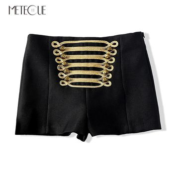 Vintage Palace Embroidery Metal Button High Waist Cotton Blends Women's Shorts Mini Shorts Sexy Women Autumn Winter Shorts 2017