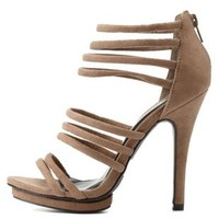Taupe Strappy Caged Heels by Charlotte Russe