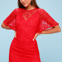 Get Free Red Lace Mini Dress