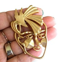 Vtg Abstract Face Spiked Hair Matte Gold Tone Pin Modernist Memphis Mod Brooch