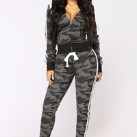 Camo Inside With Me Jogger - Charcoal